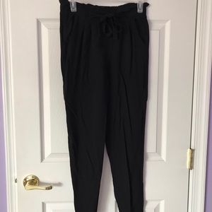 Black high waisted paper bag style pants